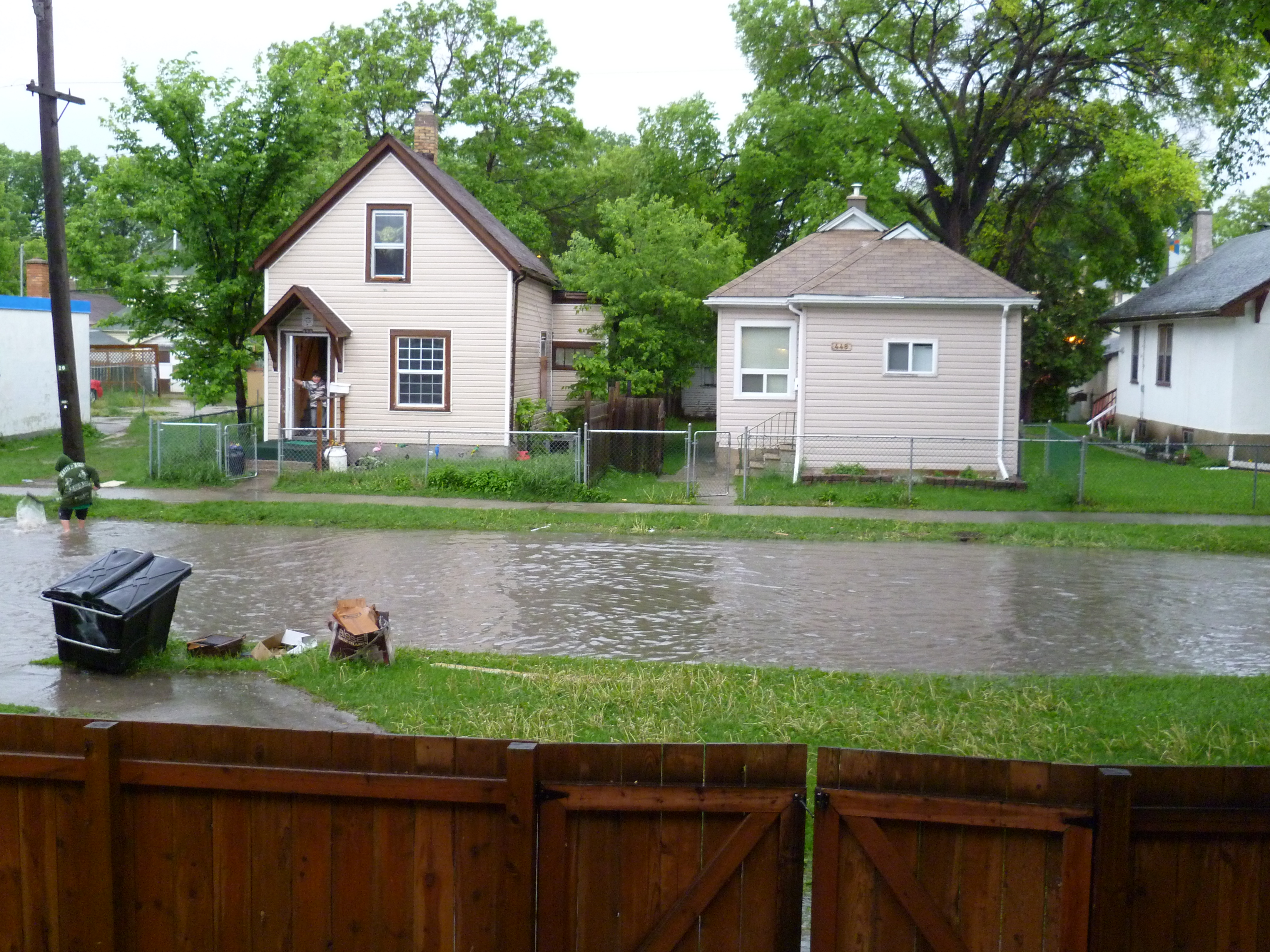 Our street after a torrential rainfall.